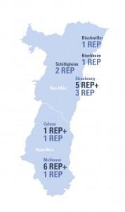 Carte de la répartition des Rep et Rep + dans l'académie de Strasbourg à la rentrée 2015
