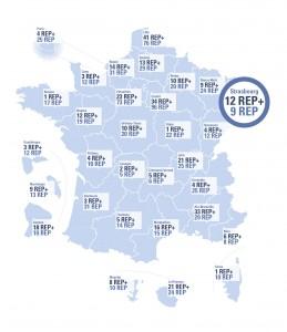 Carte de la répartition des Rep et Rep + en France à la rentrée 2015