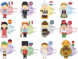 Vector illustration of cartoon characters in 12 different languages